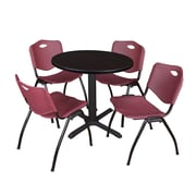 "Regency Seating Cain 3o"" Round Table- Mocha Walnut w/ 4 'M' Stack Chairs- Burgundy"
