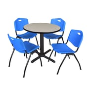 "Regency Seating Cain 3o"" Round Table- Maple w/ 4 'M' Stack Chairs- Blue"