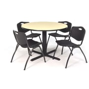 "Regency Seating Cain 3o"" Round Table- Maple w/ 4 'M' Stack Chairs- Black"