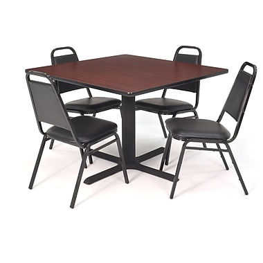 Regency Seating Black Kee 36in. Square Table- Mahogany w/ 4 Resturant Stack Chairs