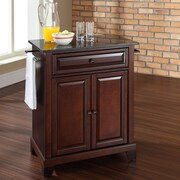 Crosley Newport Kitchen Island with Granite Top; Vintage Mahogany