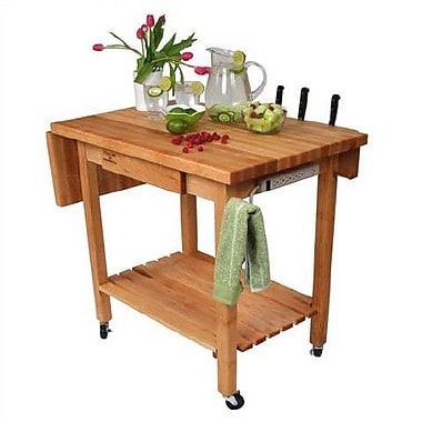 John Boos BoosBlock Kitchen Island with Butcher Block Top; Buttercup Yellow Staples?