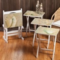 Cape Craftsmen Coastal Chic A La Plage TV Tray with Stand (Set of 4)