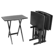 Wildon Home   Bay Shore Curve Edge Tray Table Set w/ Stand (Set of 4); Black