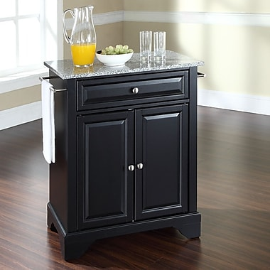 Crosley LaFayette Kitchen Cart w/ Granite Top; Black