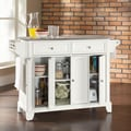 Crosley Newport Kitchen Island with Stainless Steel Top; White