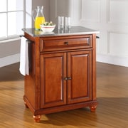 Crosley Cambridge Kitchen Island with Stainless Steel Top; Classic Cherry
