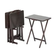 Casual Home Tray Table with Stand (Set of 4); Espresso