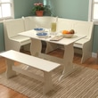 TMS Nook 3 Piece Dining Set; Antique White