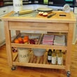 Chris & Chris Pro Chef Kitchen Cart with Granite Top; Natural Lacquer