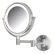 Jerdon Dual Sided Wall Mount Lighted Mirror; Nickel
