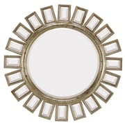 Majestic Mirror Contemporary Round Bevel Wall Mirror; Antique Silver
