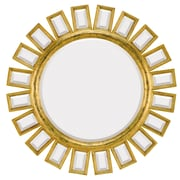 Majestic Mirror Contemporary Round Bevel Wall Mirror; Antique Gold