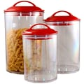Reston Lloyd 3 Piece Acrylic Canister Set; Red
