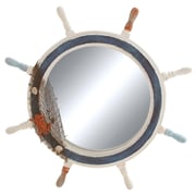 Woodland Imports Ship Wheel Wall Mirror