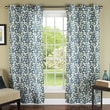 m.style Ikat Plume Poly Linen Textured Cloth Grommet Curtain Panel  (Set of 2); Teal/Silver