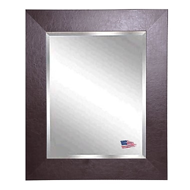 Rayne Mirrors Jovie JaneWide Brown Leather Wall Mirror; 36'' H x 30'' W x 0.75'' D