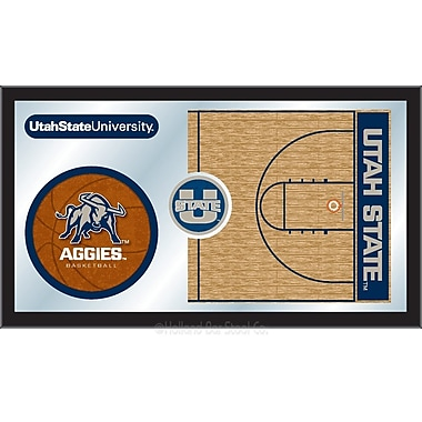 Holland Bar Stool NCAA Basketball Mirror Framed Graphic Art; Utah State