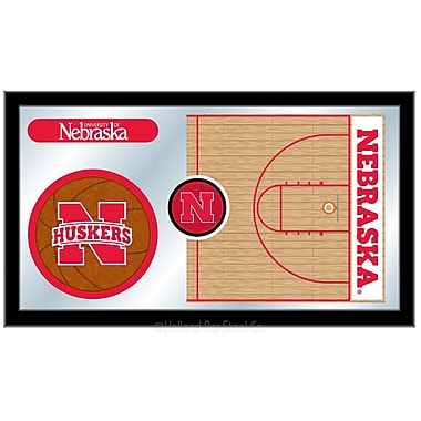 Holland Bar Stool NCAA Basketball Mirror Framed Graphic Art; Nebraska