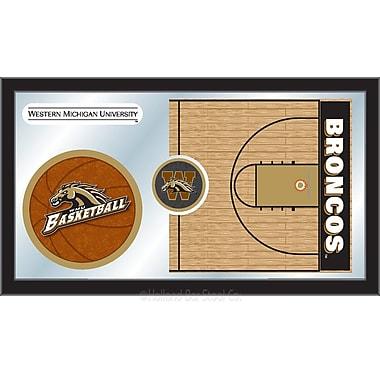 Holland Bar Stool NCAA Basketball Mirror Framed Graphic Art; Western Michigan