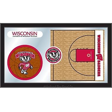 Holland Bar Stool NCAA Basketball Mirror Framed Graphic Art; Wisconsin