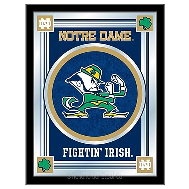 Holland Bar Stool NCAA Logo Mirror Framed Graphic Art; Notre Dame (Shamrock)
