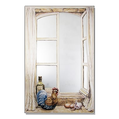 Stupell Industries Rooster and Oil Faux Window Mirror Painting Print Wall Plaque