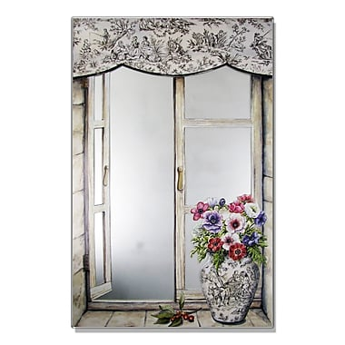 Stupell Industries Toile Vase Faux Window Mirror Painting Print Wall Plaque