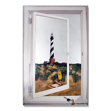 Stupell Industries Cape Hatteras Lighthouse Faux Window Mirror Painting Print Wall Plaque