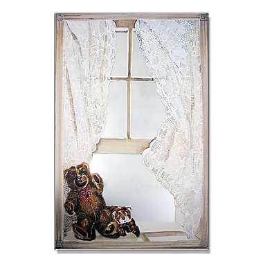 Stupell Industries Teddy Bear Faux Window Mirror Painting Print Wall Plaque