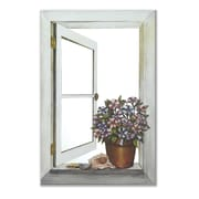Stupell Industries Petunias Mirror Faux Window Painting Print Plaque
