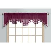 United Curtain Co. Monte Carlo Rod Pocket Scalloped 59'' Curtain Valance; Burgundy