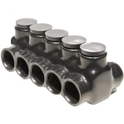 Morris Products Insulated Multi-Cable Connector in Black with Dual Entry 5 Ports 750'' - 250''