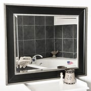 Rayne Mirrors Black with Silver Cage Trim Wall Mirror; 41.25'' H x 35.25'' W x 2'' D