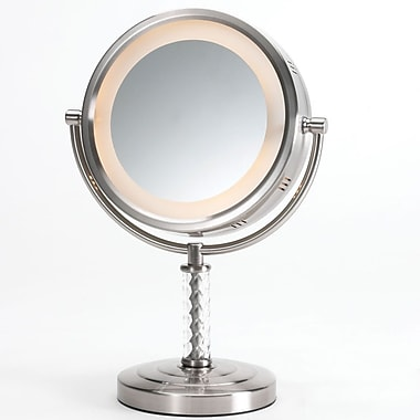 jerdon dual sided halo lighted vanity mirror matte nickel staples. Black Bedroom Furniture Sets. Home Design Ideas