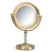 Jerdon Dual Sided Halo Lighted Vanity Mirror; Brushed Brass