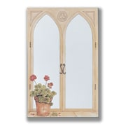 Stupell Industries Geraniums Mirror Faux Window Painting Print Plaque