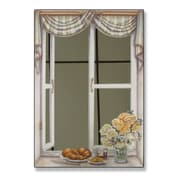 Stupell Industries Croissant and Roses Mirror Faux Window Painting Print Plaque