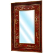 Oriental Furniture Wide Wall Mirror; Red Lacquer