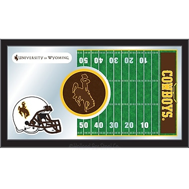 Holland Bar Stool NCAA Football Mirror Framed Graphic Art; Wyoming