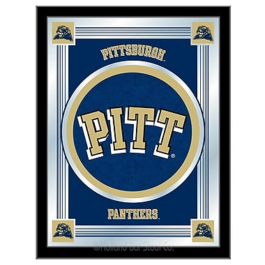 Holland Bar Stool NCAA Logo Mirror Framed Graphic Art; Pittsburgh