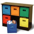 RiverRidge Kids RiverRidge Kids 6 Bin Storage Cabinet; Espresso/Bright Bins