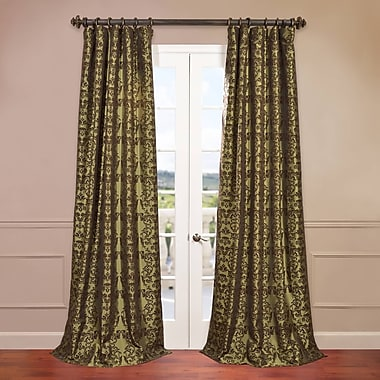Half Price Drapes Firenze Fern Flocked Faux Silk Single Curtain Panel; 50'' W x 84'' L
