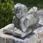 Alfresco Home Cherub Reading Book Statue