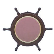 Handcrafted Model Ships Deluxe Class  Ship Wheel Mirror; Brass