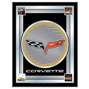 Holland Bar Stool Corvette - C6 Logo Mirror Framed Graphic Art; Silver / Gold