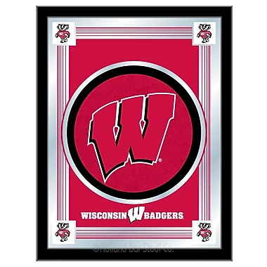 Holland Bar Stool NCAA Logo Mirror Framed Graphic Art; Wisconsin ''W''