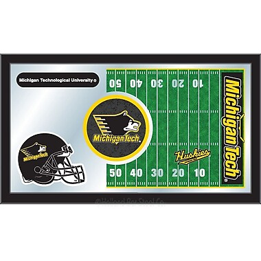 Holland Bar Stool NCAA Football Mirror Framed Graphic Art; Michigan Tech