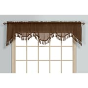 United Curtain Co. Monte Carlo Rod Pocket Scalloped 59'' Curtain Valance; Chocolate