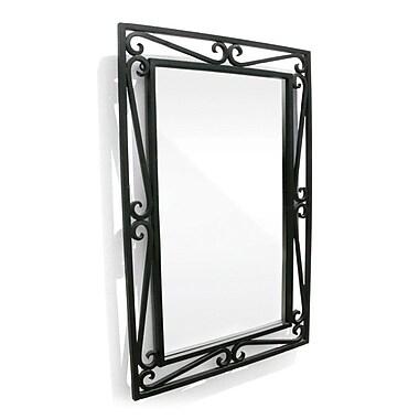 D'Vontz Iron Cantilevered Scroll Mirror; Black Iron
